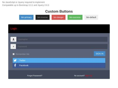 Bootstrap Custom Buttons and Panels