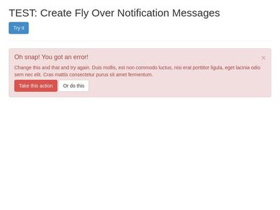 TEST: Create Fly Over Notification Messages