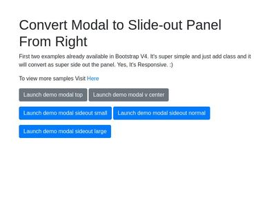 Bootstrap V4 - Modal as Slide-out Panel from Right - No Js