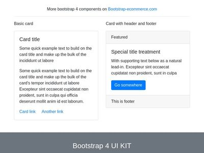 Bootstrap4 cards, simple card panel