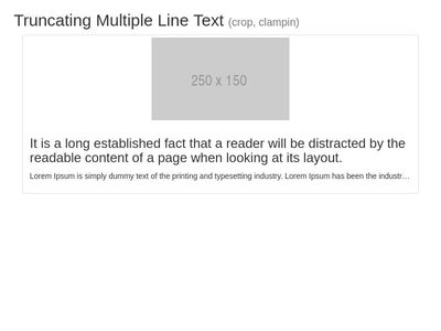 Bootstrap Snippet Truncating Multiple Line Text (crop, clampin