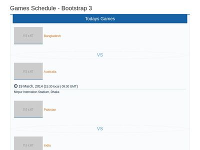 Games Schedule - Bootstrap 3