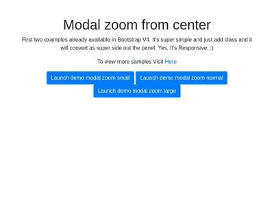 Bootstrap Snippet Bootstrap V4 Modal zoom from center using