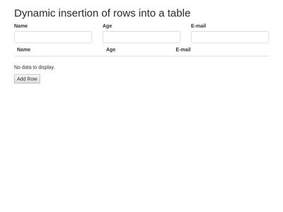 Dynamic insertion of rows into a table