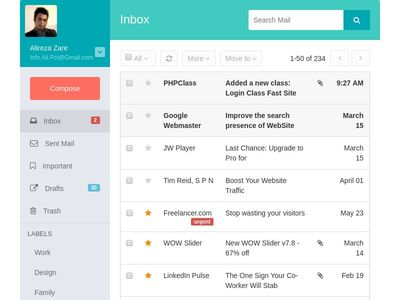Responsive Mail Inbox and Compose