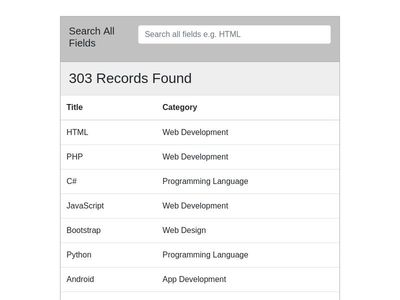 Bootstrap Search Table