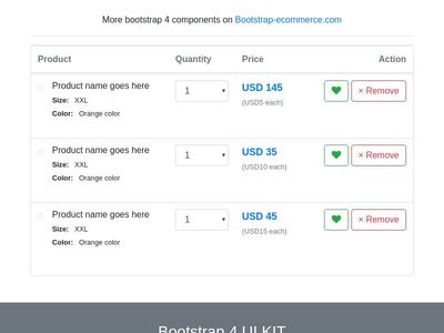 shopping cart bootstrap4 css, ecommerce products listing table