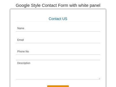 Google Style Contact Form with white panel
