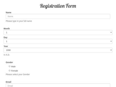 Registration form with collapsable details