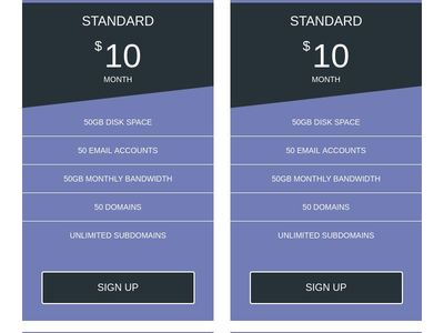 pricing table with hover effects