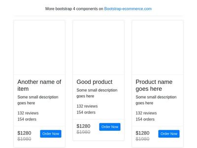 Product card, products box, bootstrap 4 ecommerce item grid view