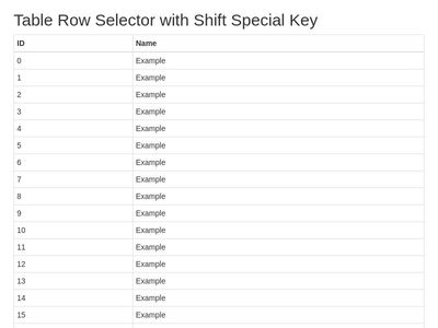 Table select rows with shift key