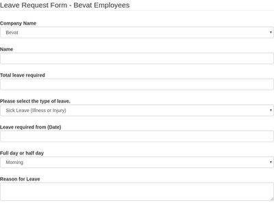 Leave Request Form - Bevat Employees