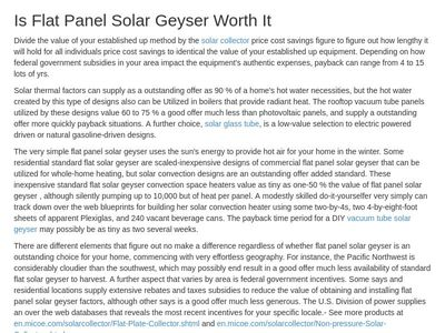 Is Flat Panel Solar Geyser Worth It