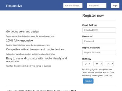 login page like facebook