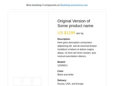 eCommerce Product Detail , bootstrap 4 product view card