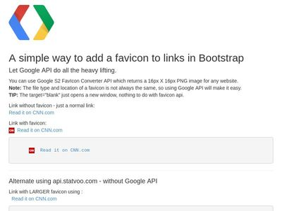 TEST: Add favicons to any link using Google API