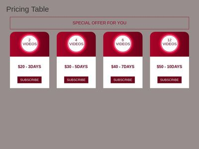 responcive stylish Pricing Table