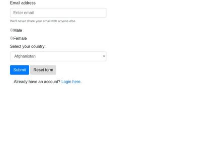 Bootstrap sign up form with all countries and reset button