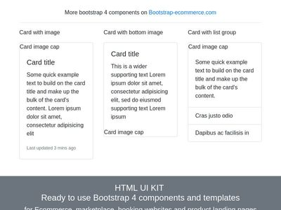 Card with image, panel card, blog post, bootstrap4 cards