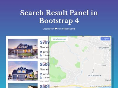 Search Result #lists with #sidebar #map and #card designs #bootstrap4