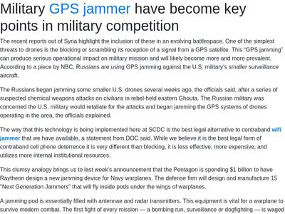 "<body> <h1>Military <a href=""https://www.perfectjammer.com/gps-blockers-jammers.html"">GPS jammer</a> have become key points in military competition</h1> <p>The recent reports out of Syria highlight the inclusi"