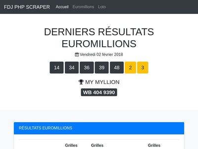 Loto & EuroMillions Results Table by https://t-php.fr