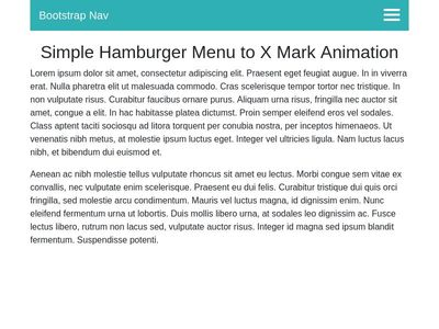 Hamburger Menu to X Snippet