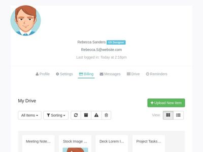 Bootstrap framework snippet Drive files documents user profile