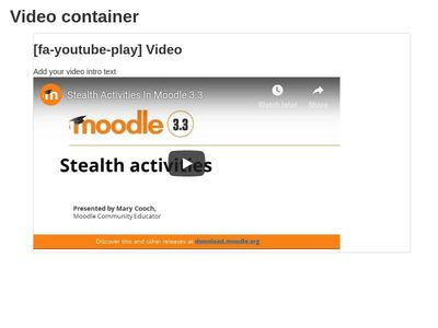 Video Panel - Moodle 3.3.3