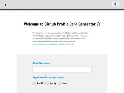 Welcome to Github Profile Card Generator