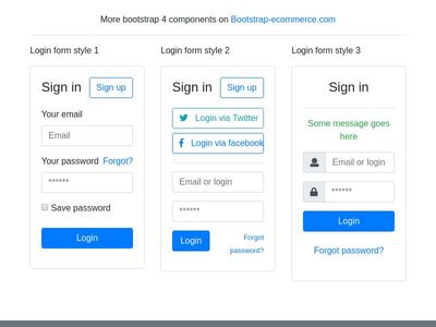 Login form, sign in form, bootstrap 4  login card,  signin page, login style