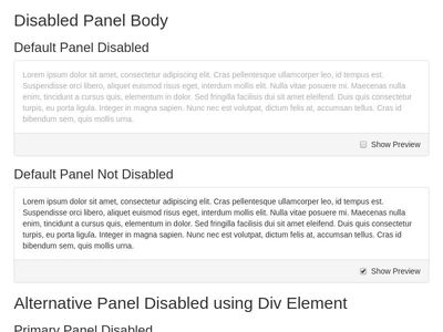 Disabled Panel