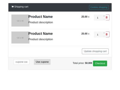 Shopping Cart Bootstrap 4 + FontAwesome ( Beta 2 )
