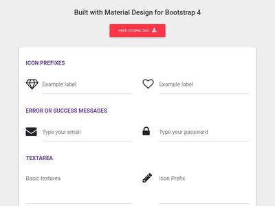 Bootstrap Inputs - Material Design & Bootstrap 4
