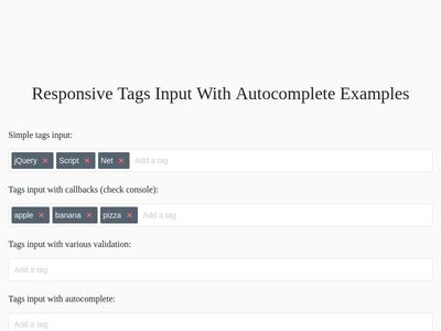 Bootstrap Snippet Responsive Tags Input using HTML CSS jQuery