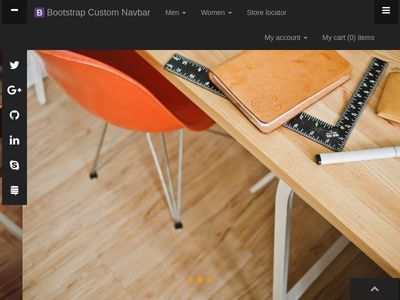 Bootstrap Custom MegaMenu Navbar with Sidenav taggle social accordion full page responsive fade carousel and customblcok quotes