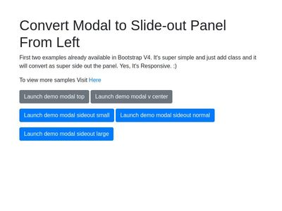 Bootstrap V4 - Model to Slide-Out Panel from Left - Responsive