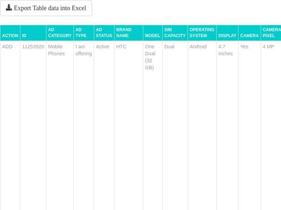 Export table data to excel in csv format.
