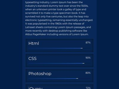 Pure css skills bar UI Design Html5  Css3 glowing skill bar effects- Horizontal