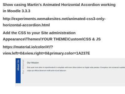 Animated Horizontal Accordion- Moodle 3.3.3 - material.io - Testing