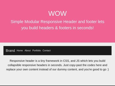Simple Modular Responsive Header and footer