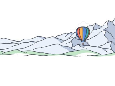 css animation mountain and balloon