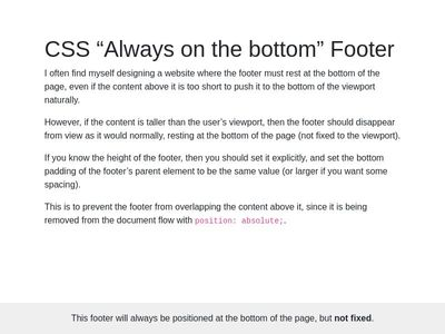 "Footer  ""Always on the bottom"""