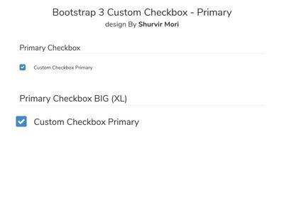 Bootstrap 3 Custom Checkbox - Primary design By Shurvir Mori