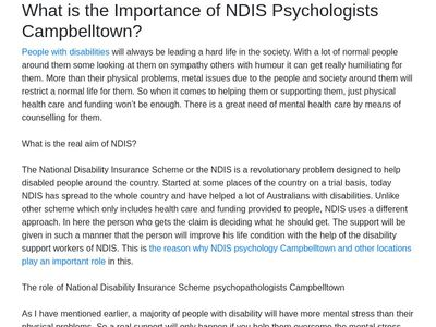 NDIS Psychology Campbelltown