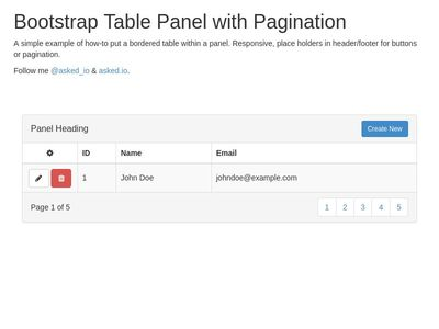 Table Panel with Pagination