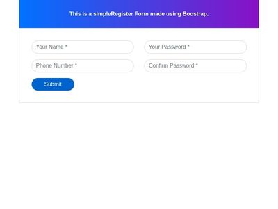 Bootstrap 4 Simple Registration Form