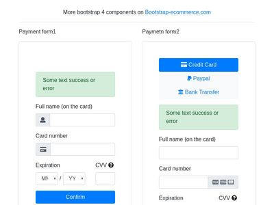Payment form, credit card form block bootstrap4